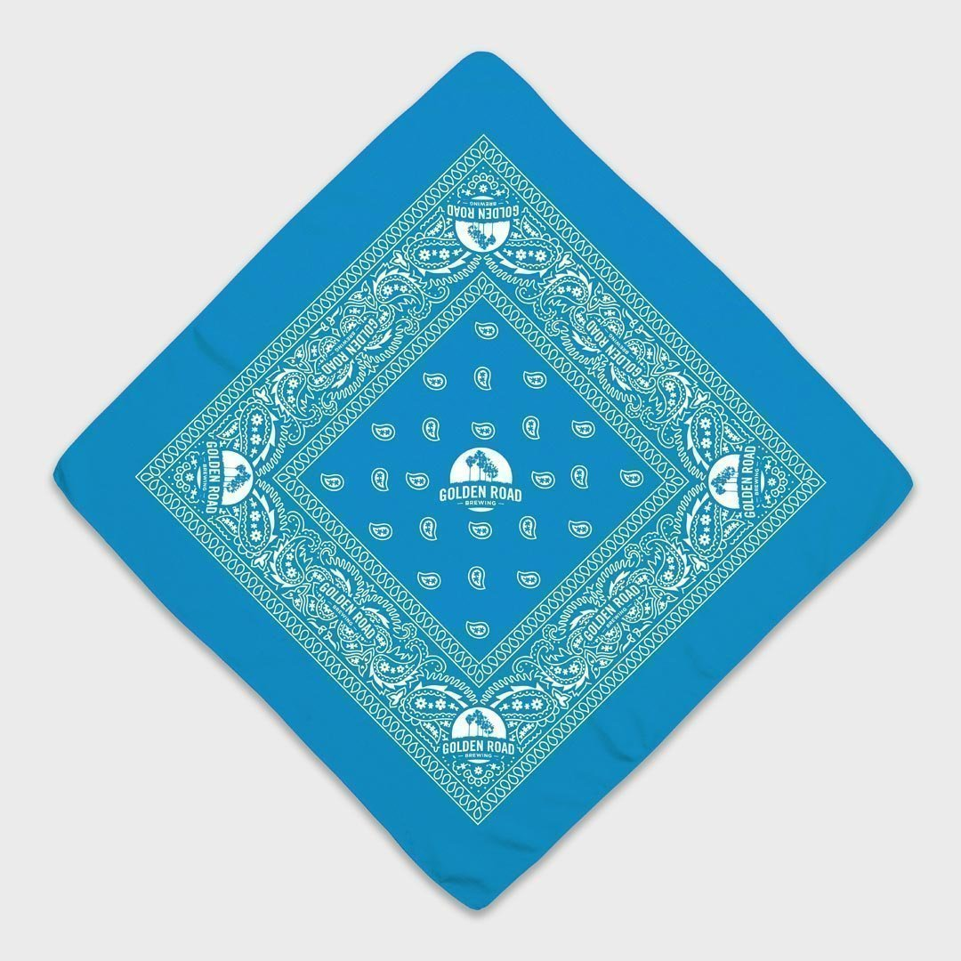 Custom Bandanas Turquoise with a White ink print